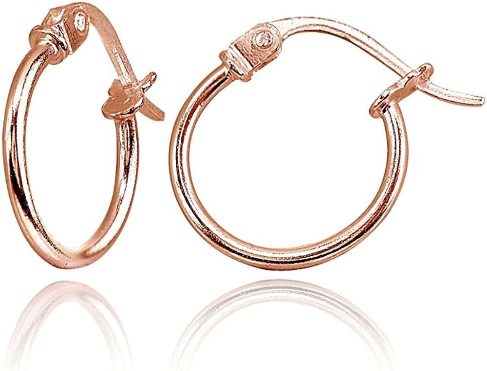 Rose Gold Flashed Sterling Silver Tiny or Small High Polished Round Thin Lightweight Unisex Click-Top Hoop Earrings, Choose a Size