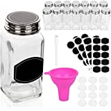 Spice Jars Bottles - 14 Square Glass Containers (4 oz) with 40 Chalkboard Labels, Chalk Marker, Stainless Steel Lid, Shaker Insert Tops and Wide Funnel - Complete Organizer Set