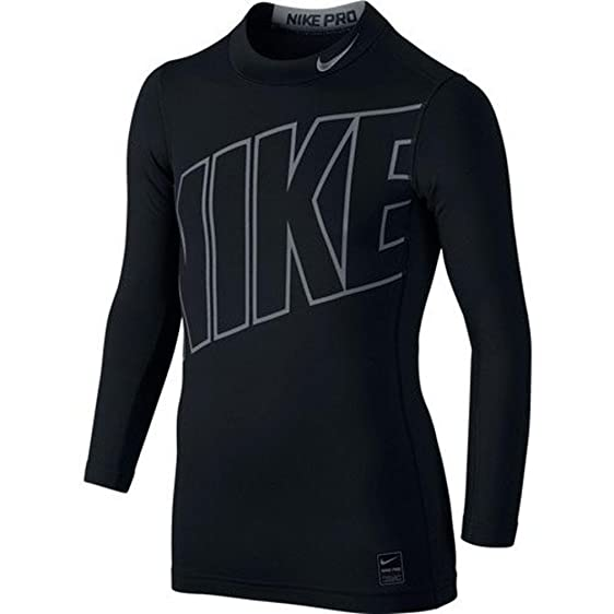 Boy's Nike Hyperwarm HBR Compression Mock Training Shirt Black/Cool Grey  Size Small