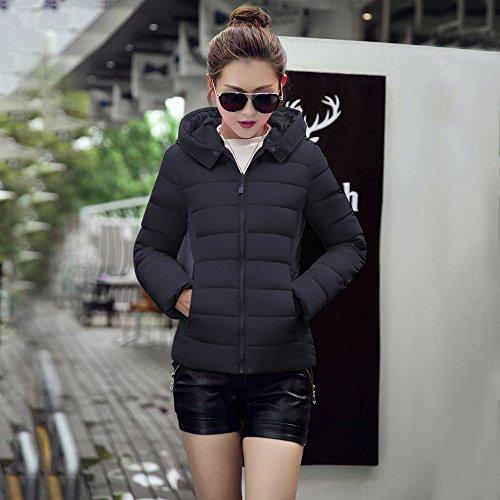 Court Elegante BAINASIQI Estola el para con Acolchada Abrigo invierno Negro Capucha 2017 Mujer Chaqueta Parka xBxwn1gqp