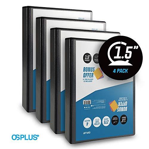 OS Plus 1.5 Inch O-Ring Simple View Binder, Black, 4-Pack. Bonus 5-Tab Dividers (1 Set) Included