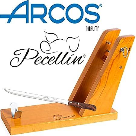 Pecellín Soporte Jamonero + Cuchillo 25 cm Base de Corte para Cortar Pata y Paleta de Jamon Serrano e Iberico