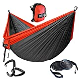 """Automotive : WINNER OUTFITTERS Double Camping Hammock - Lightweight Nylon Portable Hammock, Parachute Double Hammock for Backpacking, Camping, Travel, Beach, Yard. (Do Charcoal/Red, 78"""" W x 118"""" L)"""