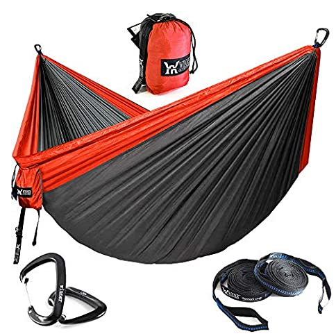 - 51HR 2BCx3a0L - WINNER OUTFITTERS Double Camping Hammock – Lightweight Nylon Portable Hammock, Parachute Double Hammock for Backpacking, Camping, Travel, Beach, Yard.