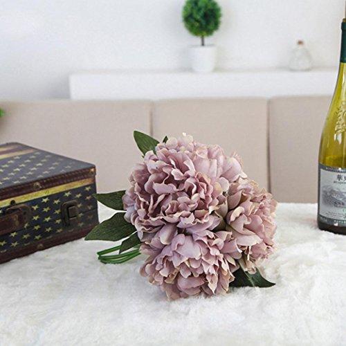 YJYdada Artificial Silk Fake Flowers Peony Floral Wedding Bouquet Bridal Hydrangea Decor (Gray)