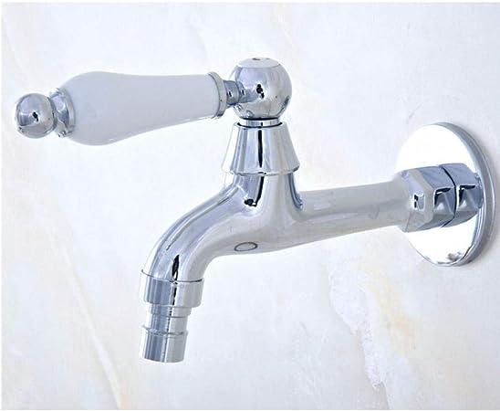 QIURUIXIANG- Cromo Pulido Grifo al Aire Libre, Lavadora Jardín Agua de la máquina de lavandería Fregadero Agua fría Grifo QI-313: Amazon.es: Hogar