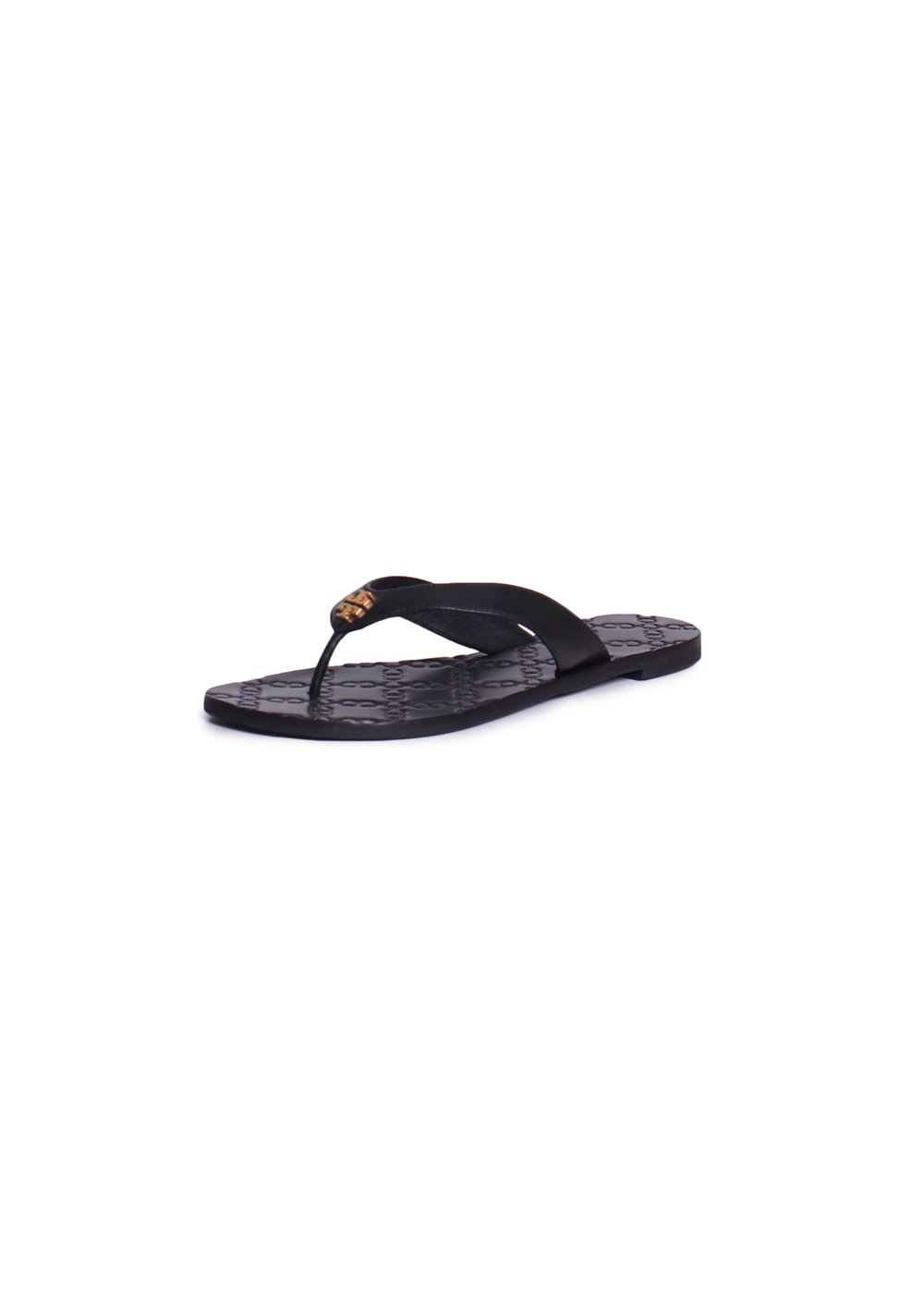 Tory Burch Monroe Leather Thong Sandals (6.5, Black)