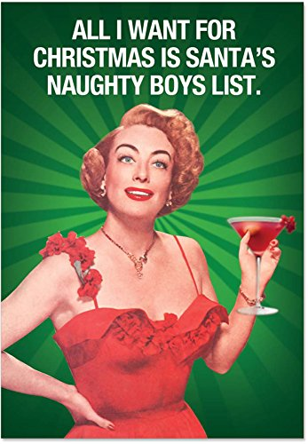 12 'Naughty Boy List' Boxed Christmas Cards with Envelopes (4.75 x 6.625 Inch), Sassy Vintage-Inspired Photo Holiday Notes, Hilarious Cocktail Party Holiday Cards, Funny Christmas Stationery B5908