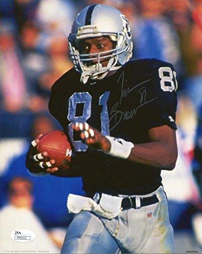 (Autographed Tim Brown Photo - 8x10 JSA) - Autographed NFL Photos)