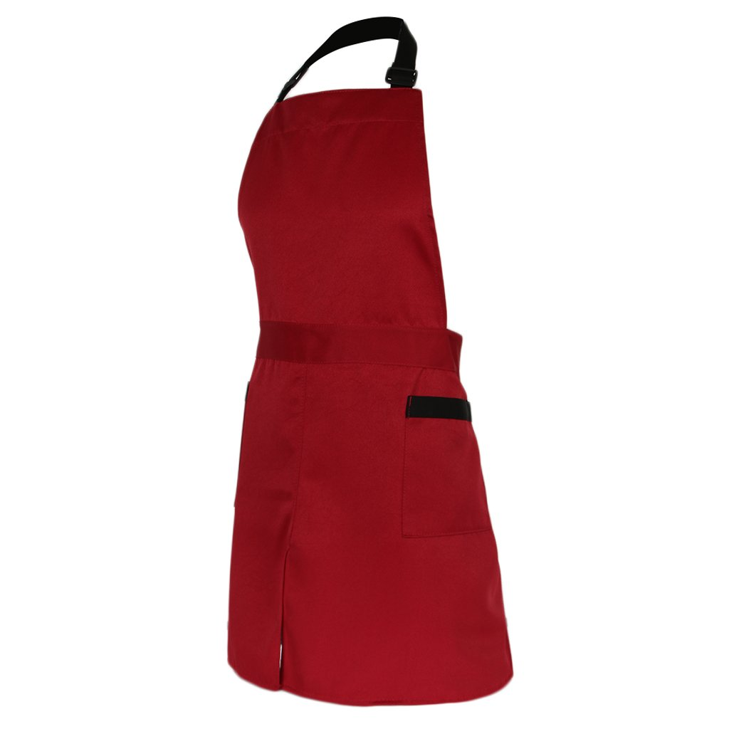 Baoblade Women's Men's Plain Long Polyester Chef Apron Professional Catering Cooking Kitchen Butcher Apron with Pockets as described