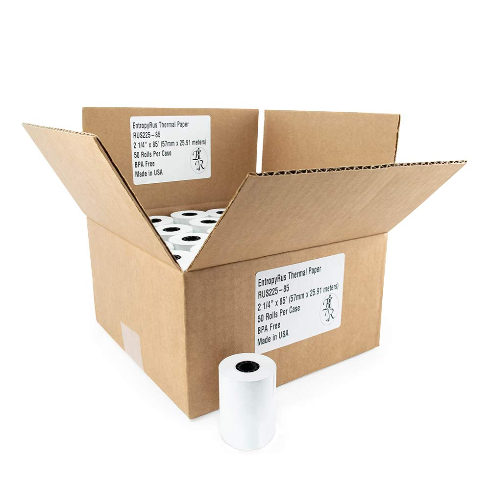Thermal Paper Rolls 2 1 4 x 85 - (50) CC Receipt Paper per Pack | BPA Free for POS terminals: Clover Mini Mobile | First Data fd130 fd100ti fd50 fd55 | Verifone Vx510 Vx570 | Sharp Registers | Pax S8