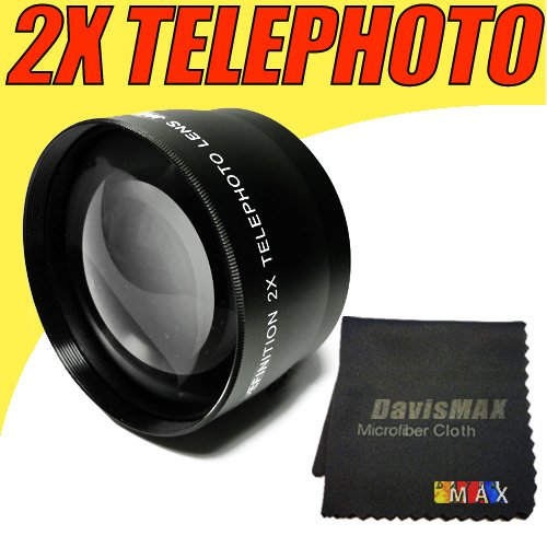 58MM 2X Telephoto Lens Includes LIFETIME WARRANTY, Lens Caps, Lens Bag and DavisMAX FiberCloth for Canon Rebel EOS T2i T3i T1i XT XS XSi XTi T3 & MORE!