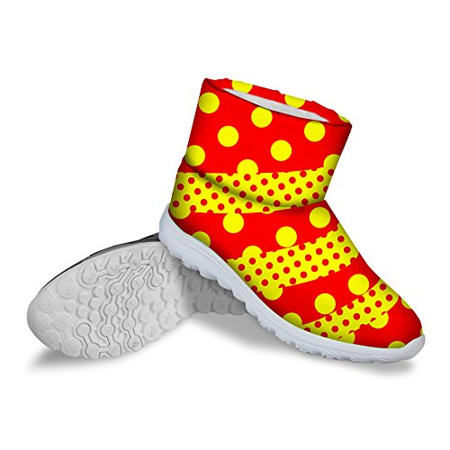 Flat Red Colorful DESIGNS Boots Girls U Waterproof Snow Stylish Dots FOR Winter Women Warm tzOAq5P