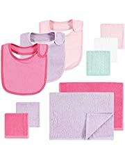 Hudson Baby Unisex Baby Rayon from Bamboo Bib, Burp Cloth and Washcloth 10Pk, Pink Lilac, One Size