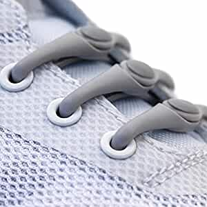 HICKIES 1.0 One Size Fits All Elastic No Tie Shoelaces - Gray (14 HICKIES Laces, Works in all shoes)