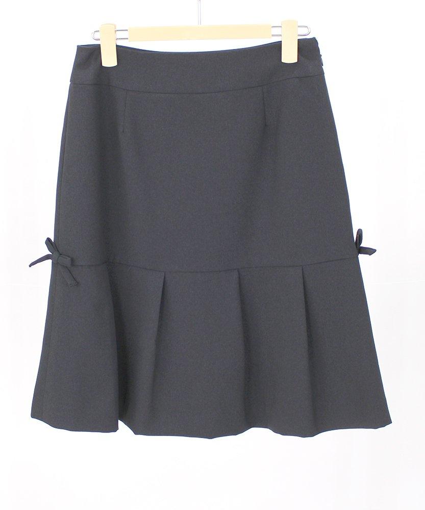 (ギャラリービスコンティ)GALLERY VISCONTI リボンモチーフ付シンプルデザインのスカート B07B8PMB9R 9号(2) ネイビー(69) ネイビー(69) 9号(2)