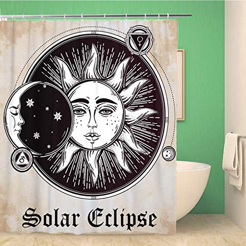 er Curtain Moon Vintage Sun Eclipse Planets Star Celestial Aged Alchemy 66x72 inches Waterproof Bath Curtain Set with Hooks ()