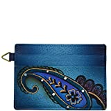 Anna by Anuschka Credit Card Case | Genuine Leather, Hand-painted Original Art | Denim Paisley Floral