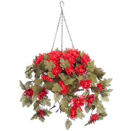 OakRidge Fully Assembled Artificial Mum Hanging Basket, Red, 10 Diameter with 18 Long Chain - Polyester/Plastic Flowers in Metal/Coco Fiber Liner Basket for Indoor/Outdoor Use