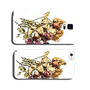 Dried roses and chrysanthemums flowers isolated on white backgro cell phone cover case iPhone6 Plus