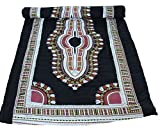 RaanPahMuang Warm Poly Lined Childs Throw Over Duvet African Dashiki Boubou Print, Gauze Saloo Cotton Two Layer - Black