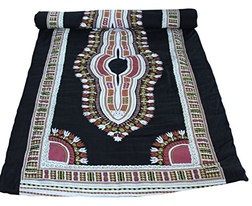RaanPahMuang Warm Poly Lined Childs Throw Over Duvet African Dashiki Boubou Print, Gauze Saloo Cotton Two Layer - Black by Raan Pah Muang