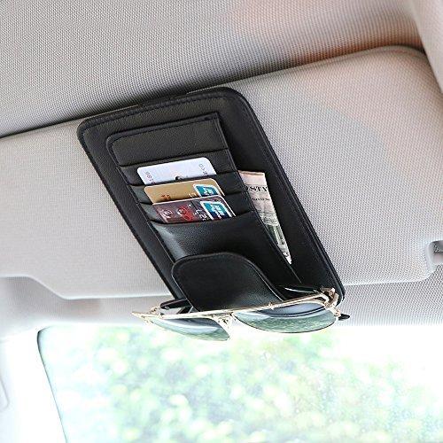 AOZBZ Car Sun Visor Organizer,PU Leather Car Visor Holder Interior Accessories Pocket Organizer Storage Bag for Sunglass Parking Fuel Card Digital Accessories