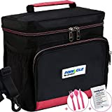 Image of INSULATED LUNCH BAG For Work - Pinnacle Cooler Bag for Men, Women Lunch Container for Adults + BONUS GEL ICE PACK and MATCHING CUTLERY - Double Zipper, Adjustable strap – Black & Pink