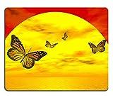 Best Mousepad Stains - MSD Natural Rubber Mousepad Four beautiful monarch butterflies Review