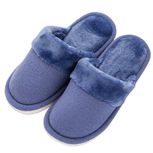 Hausschuhe Baumwolle Hause Korallen Männlich Warme Rutschfeste Feuchtigkeit absorbierende Warme Schuhe Blau