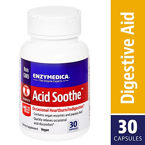 Enzymedica, Acid Soothe, Promotes Relief from Heartburn and Indigestion while Helping to Strengthen the Stomach Lining, Vegan, Non-GMO, 30 capsules (30 ()
