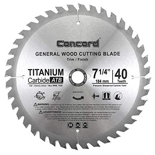 Concord Blades WCB0725T040HP 7-1/4' 40 Teeth TCT General Purpose Hard & Soft Wood Saw Blade
