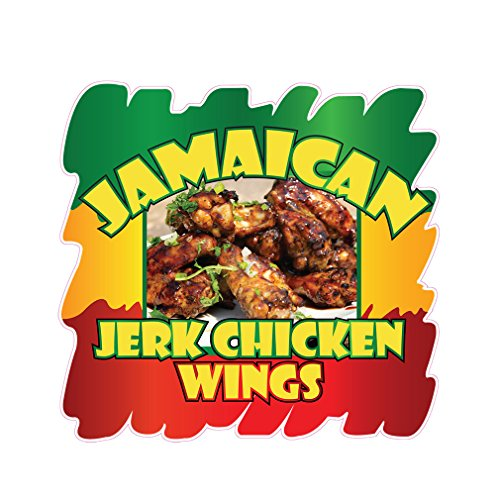 Jamaican Jerk Chicken Wings Concession Restaurant Food Truck Die-Cut Vinyl Sticker 24 inches by Fastasticdeals