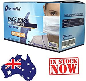 Face Mask with earloops, BFE: 99%, in stock Sydney, dispatch in 2 business days
