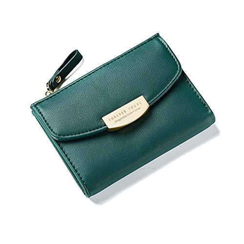 Slim Wallet For Women Ladies Leather Purse Pocket Mini Compact Card Houlder Bifold Pouch with Coin Zipper Pocket Darkgreen