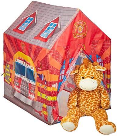 Relaxdays Tienda Campaña Infantil, Estación Bomberos, Casa Niños, Casita, Poliéster y Plástico, 103 x 71 x 94 cm, Rojo