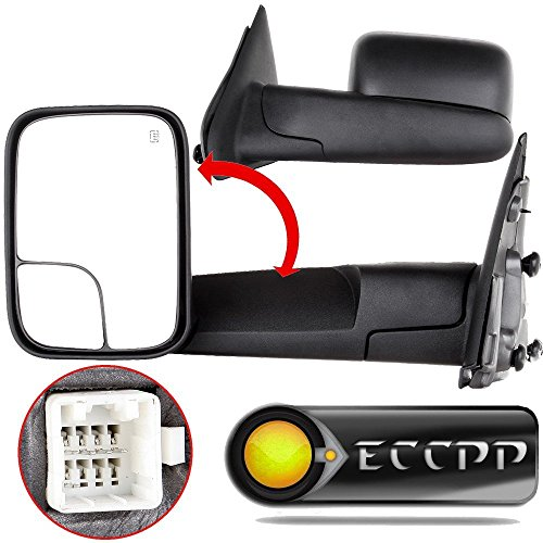 (ECCPP Towing Mirrors fit 02-08 Dodge Ram 1500 03-09 Dodge Ram 2500 3500 Pickup Truck Power Heated Tow Folding Side View Black Mirror Pair Set: Right Passenger and Left Driver Side 02 03 04 05 06 07 08)
