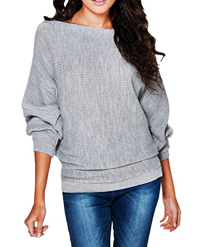 StyleDome Women's Knit Batwing Long Sleeve Loose Pullover Sweater Ribbed Jumper Light Grey US 14 / Asian XXL