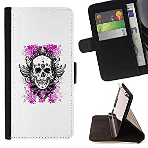 Momo Phone Case / Flip Funda de Cuero Case Cover - Blanco Rosa Floral muerte cráneo se va volando - LG G4c Curve H522Y (G4 MINI), NOT FOR LG G4