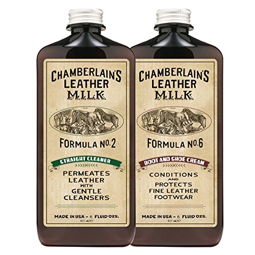 Leather Milk Leather Boot & Shoe Cleaner and Conditioner Kit (2 Bottle Shoe Care Set) - Straight Cleaner No. 2 + Boot & Shoe Cream No. 6 - All Natural, Non-Toxic. Made in USA. Includes 2 Shine Pads!