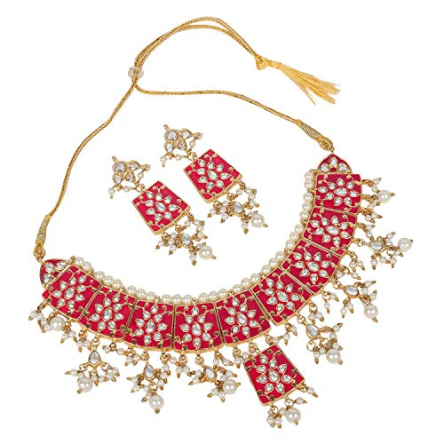 YouBella Jewellery Bollywood Ethnic Bridal Wedding Traditional Choker Indian Necklace Set with Earrings for Women (Pink)