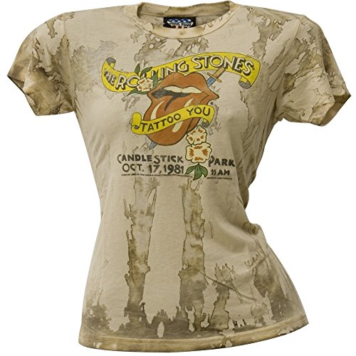 Price comparison product image Rolling Stones - Womens Candlestick Park Juniors T-Shirt X-large Tan