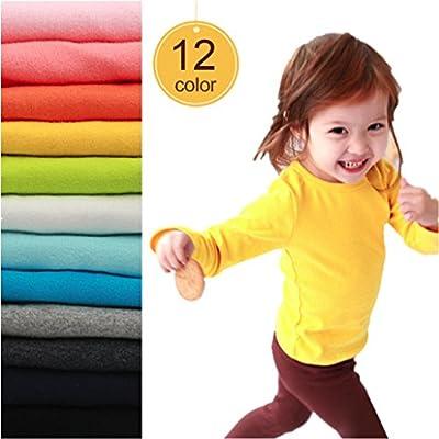 Birdfly Baby Unisex Basic Plain T-Shirt Top Toddlers Kids Long Sleeve Sweatshirt Soft Cotton Tees