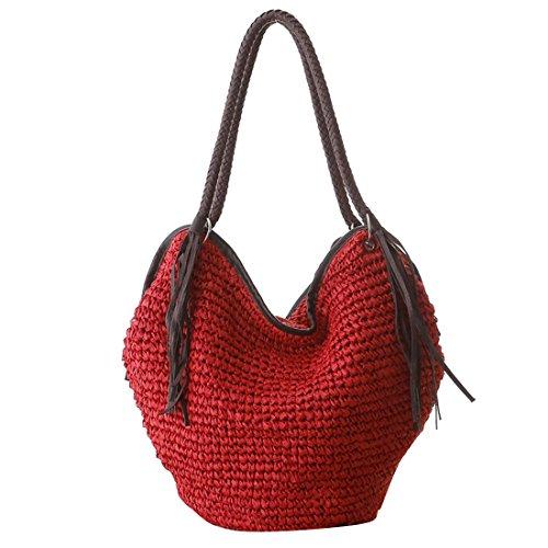 a Rojo playa Bolso mano Borlas paja mujeres pulpo de bolsa Luckywe naturaleza las chicas monedero hecho wEq6UZ1