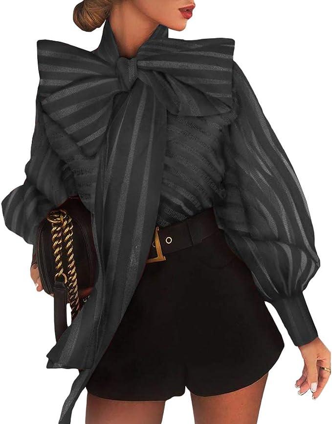 Yying Blusa de Rayas Transparentes Malla Mujer Camisa Superior ...