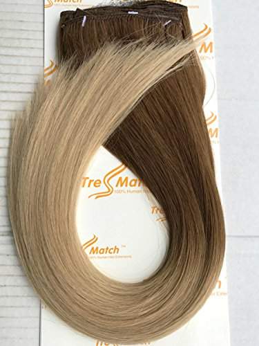 "Tressmatch 20""(22'') Clip in Premium Remy Human Hair Extensions Thick to Ends Ombre Chestnut/medium Brown to Natural Blonde 10 Pieces(pcs) Full Head Volume Set [Set Weight:5.3oz/150grams] by TressMatch"