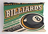 Lunarable Vintage Pillow Sham, Advertisement with Billiard Balls Form Grand Prize Quote Hobby Game Play Sports, Decorative Standard Queen Size Printed Pillowcase, 30 X 20 inches, Multicolor