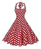 Vintage Palace Women's 50s Halter Neck Polka Dot Rockabilly Audrey Hepburn 1950s Style Dress