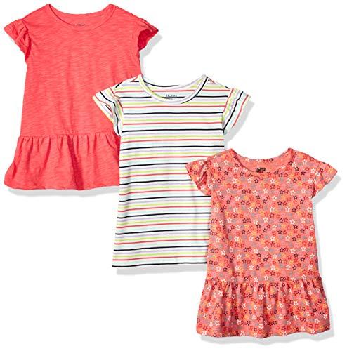 Zebra Sleeve Short - Spotted Zebra Toddler Girls' 3-Pack Short-Sleeve Ruffle Tops, Stripe/Stars, 3T