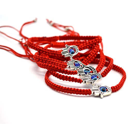Omonic MAYMII·Home 6 pcs Lucky Hamsa Red String Line Kabbalah Bracelets Bracelet Bangle Braided String Cord and Rotating Evil Eye Hamsa Hand - Jewish Amulet Pendant Jewelry for Success and Lucky